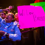 Supporters cheer for Vermont senator Bernie Sanders as he speaks during a rally at the Verizon Theater on Thursday, April 20, 2017, in Grand Prairie, Texas. Sanders, the runner-up in the 201 ...