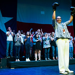 Tarrant Country Democratic Party chair Deborah Peoples holds up boxing gloves during a rally at the Verizon Theater on Thursday, April 20, 2017, in Grand Prairie, Texas. Sanders, the runner- ...