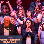 Supporters cheer Vermont senator Bernie Sanders as he addresses a rally at the Verizon Theater on Thursday, April 20, 2017, in Grand Prairie, Texas. Sanders, the runner-up in the 2016 Democr ...