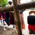 Pro-life advocates kneel in prayer as they line Greenville Avenue during a Good Friday vigil outside the Southwestern Women?s Surgery Center on Friday, April 14, 2017, in Dallas. (Smiley N ...